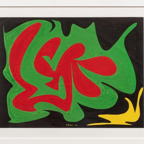 Geneviève Claisse (1935 2018) Composition, 1954  Gouache sur papier signé et dat…