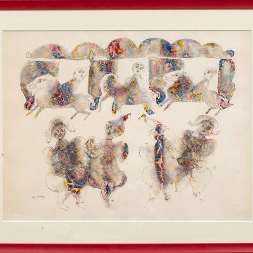 Sakti BURMAN (Né en 1935) Cavaliers et acrobates  Encre et aquarelle sur papier …