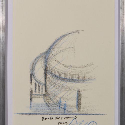 TADAO ANDO (NE EN 1941) La bourse du commerce, 2020  Crayon sur papier signé en …