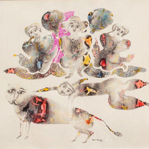 Sakti BURMAN (Né en 1935) Chat et acrobates  Encre et aquarelle sur papier signé…
