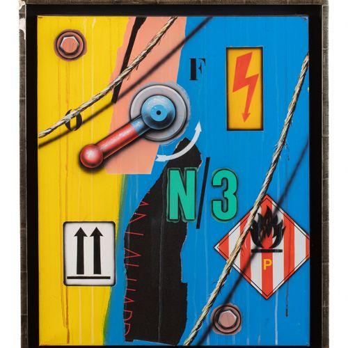 Peter KLASEN (né en 1935) Haute tension /2 flèches, 1997  Acrylique et collage d…