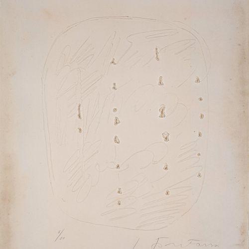 Lucio FONTANA (1899 1968) Concetto Spaziale, 1964  Gravure, gaufrage et trous, é…