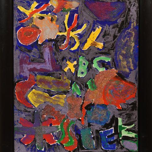 Robert MALAVAL (1937 1980) Composition, 1974  Acrylique et paillettes sur toile,…