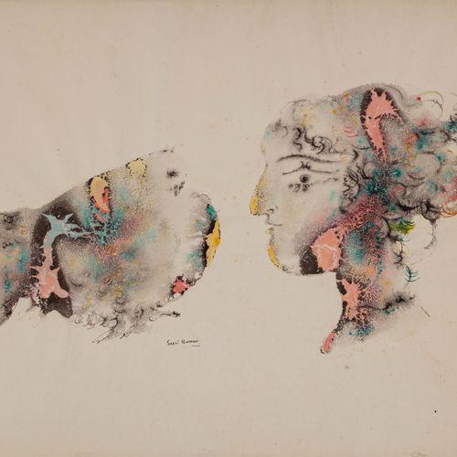 Sakti BURMAN (Né en 1935) Pigeon et femme  Encre et aquarelle sur papier signé e…