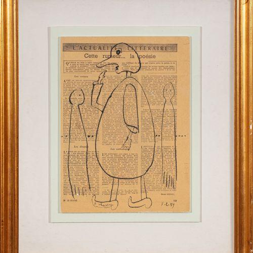 Gaston CHAISSAC (1910 1964) Sans titre, 1959  Encre sur papier imprimé, marouflé…