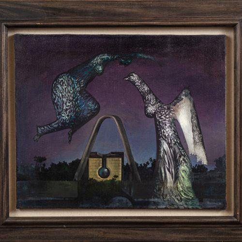 Jules PERAHIM (1914 2008) La machine à décrire, 1970  Huile sur toile signée et …