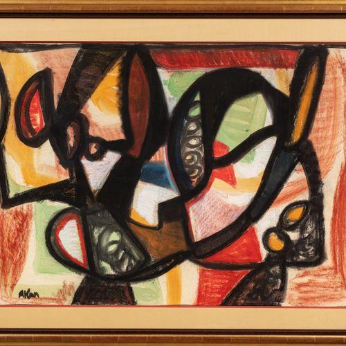 Jean Michel Atlan (1913 1960) Sans titre, 1958  Détrempe à l'huile sur carton si…