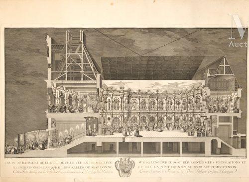"""Estampe titrée """"Coupe du bâtiment de l'Hôtel de Ville vue en perspective sur sa …"""