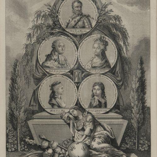 Famille royale de France. Estampe figurant les portraits en médaillons d'Henri I…