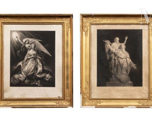 """LOUIS XVI et MARIE ANTOINETTE. Belle paire d'estampes allégoriques titrées """"Apot…"""