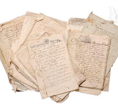 [NORMANDIE EURE]. Ensemble d'environ 115 documents datant des XVIe, XVIIe et XVI…