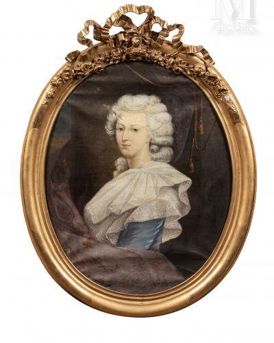 École française du XIXe siècle. Portrait de la reine Marie Antoinette.  Huile su…