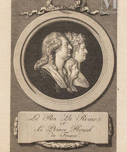 Famille royale de France. Estampe figurant les profils de Louis XVI, Marie Antoi…