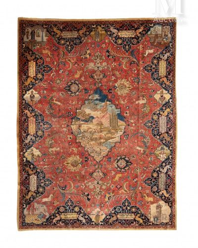 TEBRIZ  Carpet decorated with a central medallion representing shepherds on the …