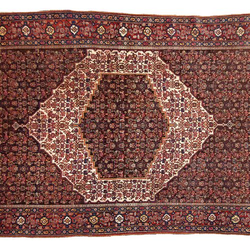 Very fine SENNEH (North West of Persia), late 19th century  Midnight blue field …