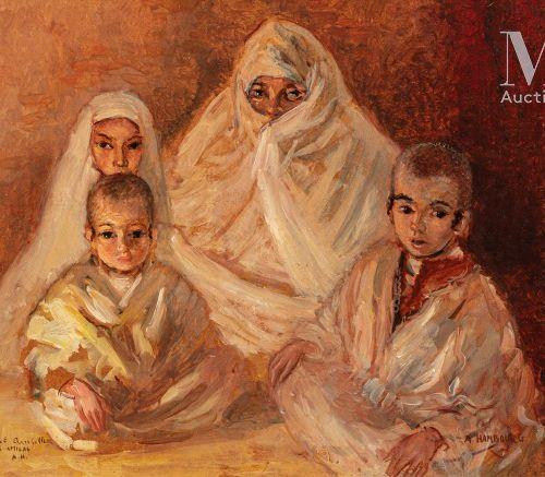 André HAMBOURG (Paris 1909 1999) Portrait de famille  Huile sur isorel  25,5 x 3…