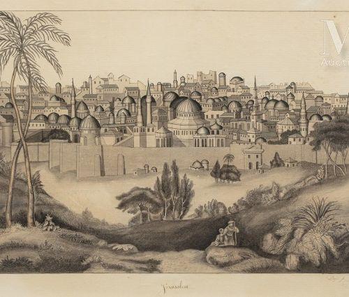 Jules HEUDEBERT (Actif au XIX ème siècle) Vue de Jérusalem  Trait de plume, encr…