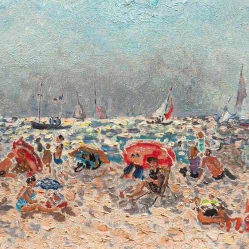 André HAMBOURG (Paris 1909 1999) La plage à marée haute  Huile sur toile d'origi…