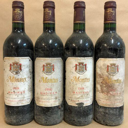 4 bouteilles MADIRAN Montus 1998 (étiquette tachée, étiquette abimée, étiquette …