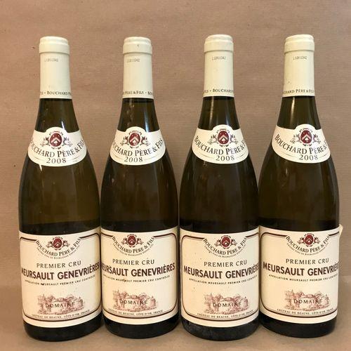 "4 bouteilles MEURSAULT ""Genevrières 1er cru"", Bouchard P&F 2008"