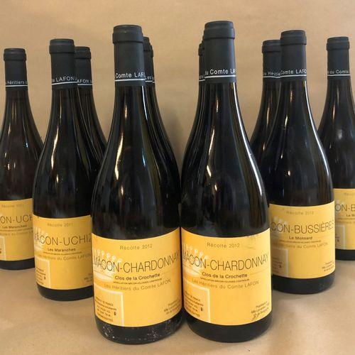 """12 bouteilles MÂCON Dom. Héritiers du Comte Lafon (els, 4 Mâcon Chardonnay, """"Clo…"""