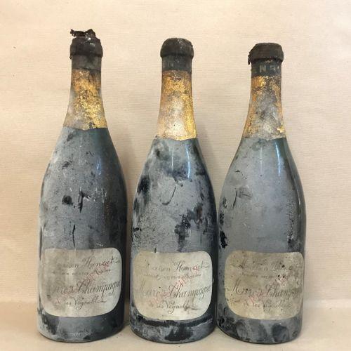 3 bouteilles MARC de Champagne, Henriot (de ses vignobles, très vieux, Basse)