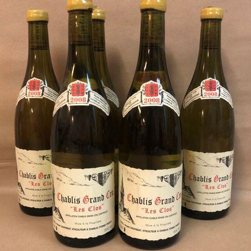 """6 bouteilles CHABLIS """"Les Clos"""", Vincent Dauvissat 2008 (2 caps cire abimée)"""