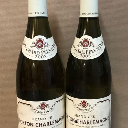 2 bouteilles CORTON CHARLEMAGNE, Bouchard P&F 2008 (2 étiquette légèrement abimé…