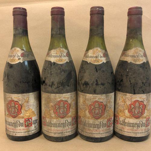 4 bouteilles CHATEAUNEUF DU PAPE C. Pouizin 1974 (étiquette tachée, étiquette sa…
