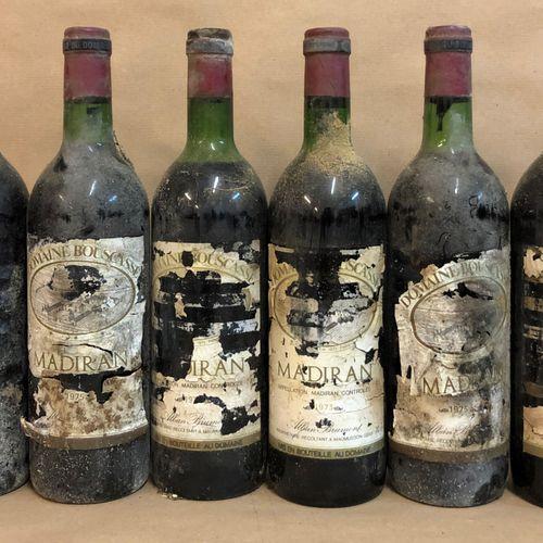 6 bouteilles MADIRAN A. Brumont (étiquettes en lambeaux, LB, ett, 2 de 1975, 2 d…