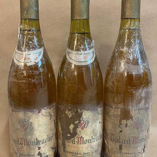 3 bouteilles BÂTARD MONTRACHET, Janniaux P&F 1948 (étiquette très abîmée, étique…