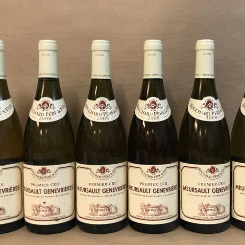 "6 bouteilles MEURSAULT ""Genevrières 1er cru"", Bouchard P&F 2008"