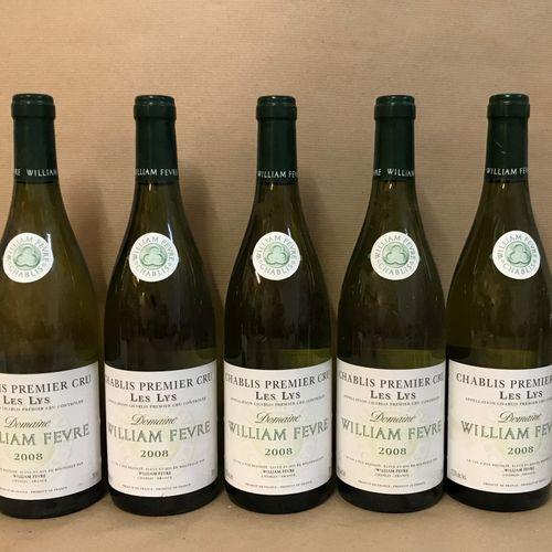 """5 bouteilles CHABLIS """"Les Lys 1er cru"""", W. Fèvre 2008"""