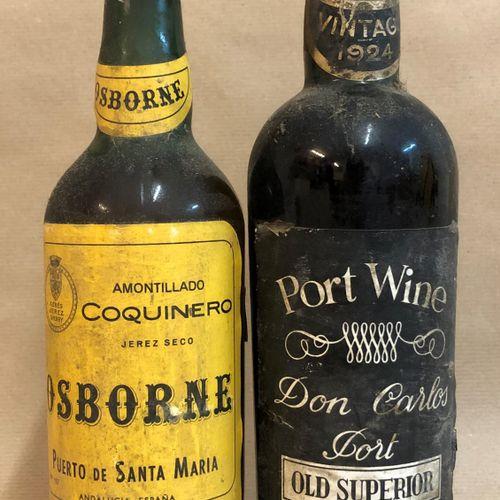"""1 bouteille PORTO """"Old Supérior"""", Don Carlos 1924 (étiquette légèrement tachée, …"""