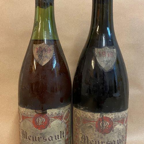 2 bouteilles MEURSAULT Ph. Meunier 1949 (étiquette très tachée, 1 Légèrement Bas…