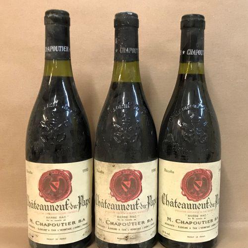 3 bouteilles CHÂTEAUNEUF DU PAPE M. Chapoutier 1990 (étiquette légèrement tachée…