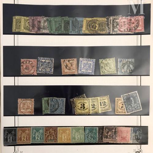 Un gros classeur. Accumulation de timbres classiques du Monde Ø, *. Quelques bon…