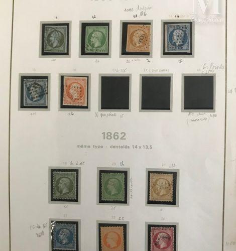 Collection entre 1 et n°60 *, Ø. Avec n°1/6, 8/9 Ø. Quelques timbres neufs dont …