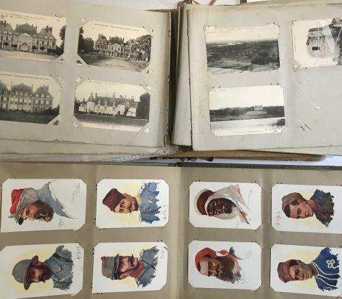 5 Albums de CPA et un petit sac composé de cartes courantes (vues de chateaux), …