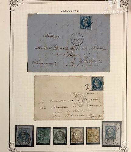 Jolie collection d'oblitérations, timbres et lettres classés par catégories: Gro…