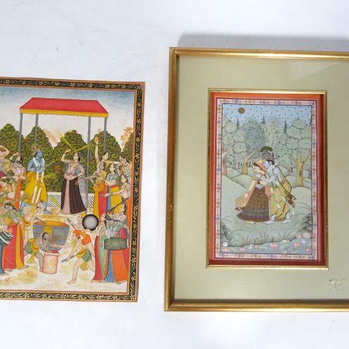 INDE, XIXème XXème Lot of two Indian miniatures  painted in gouache on paper, on…