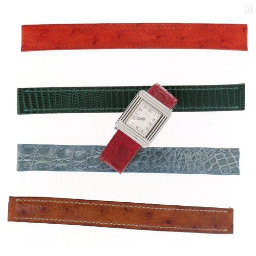 """POIRAY Montre de dame """"Ma Première"""" en acier sur bracelet en cuir rouge. Boitier…"""