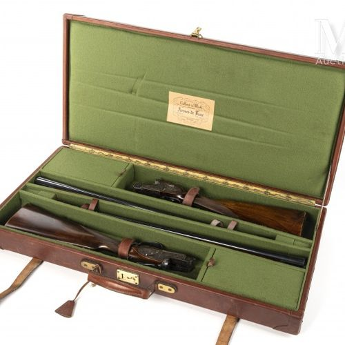 Paire de fusils à platines Arrieta modèle Leader. 2 coups, calibre 20/70, éjecte…