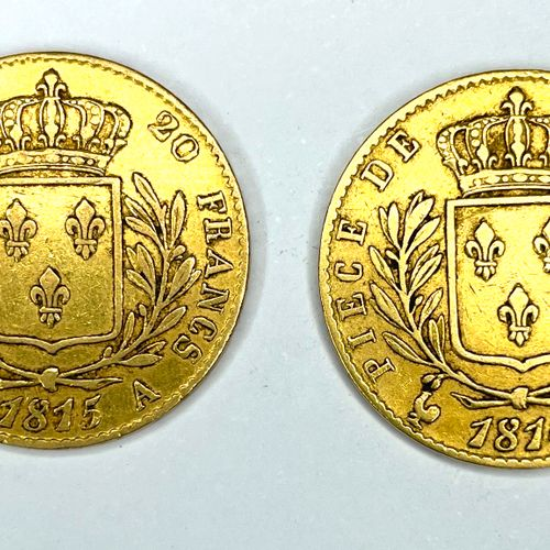 France – Louis XVIII (1815 1824)  Lot de deux monnaies de 20 Francs 1814 et 1815…