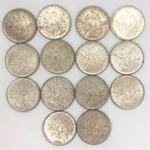 法国 第五共和国  十四枚5法郎Semeuse硬币拍品  材料 : 银900/1000