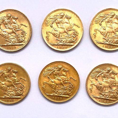 Angleterre George V (1910 1936)  Un lot de six monnaies Souverain  A : Tête nue …