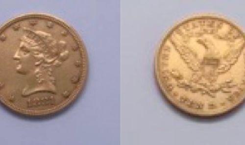 美国  一枚10美元的自由1881年硬币  答:自由女神的左侧头  R: 鹰在前面,张开翅膀  材质 : 金900/1000  重量:16.78克