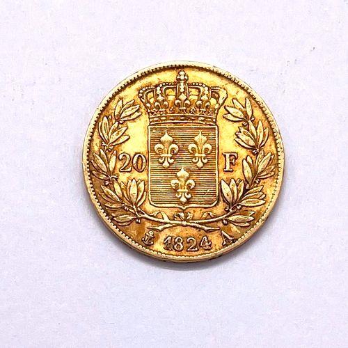 法国 路易十八(1755 1824)  1824年A类20法郎硬币(巴黎)。  A : 路易十八右侧的裸体头像  R:法国的王室成员  状况TB  重量:6.4…