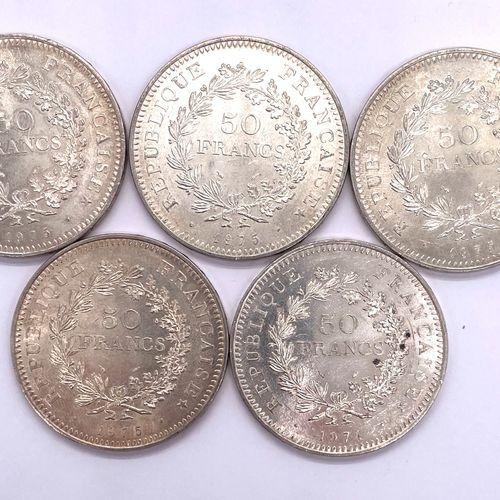 法国 第五共和国  五枚50法郎海格力斯硬币拍品  材料 : 银900/1000