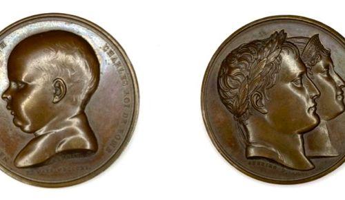奖章 法国  拿破仑一世  庆祝罗马国王弗朗索瓦 约瑟夫 查尔斯诞生的奖章 1811年  答:弗朗索瓦 约瑟夫 查尔斯左侧的头像  R: 拿破仑一世和玛丽 路易…